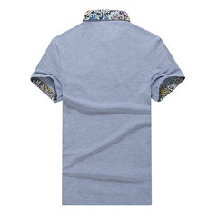 Plus Size Solid Color T-shirts Floral Cuff Turndown Collar Short Sleeved Cotton Polo Shirts For Mens