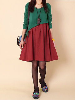 Casual Color Contrast Long Sleeve Drawstring A-Line Dress For Women