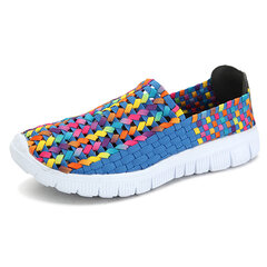 Big Size Colorful Handmade Knitting Korean Style Slip On Flat Casual Shoes