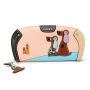 Women Cute Dog Print PU Leather Purse Card Holder Clutch Wallet