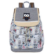 Women Casual Canvas Owl Cartoon Printing Shoulder Bag Backpack