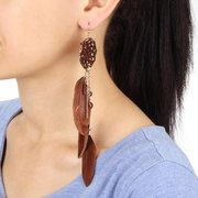 Bohemian Dream Catcher Feather Drop Earrings