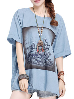 Casual Women Printed Plus Size Short Sleeve Cotton T-shirt