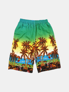 Summer Mens Plus Size Casual Coconut Palm Tree Printing Loose Quick Dry Beach Shorts