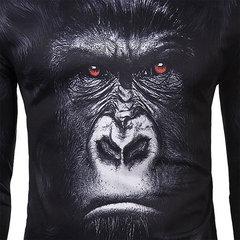 Мужская хлопок Blended Уникальный 3D Печатный Gorilla O-образным вырезом с длинным рукавом футболки