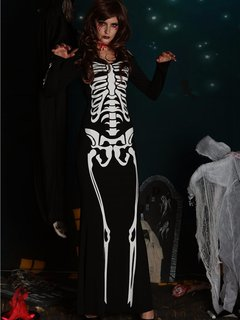 Skeleton Pattern Printed Hole Sleeve Floor Length Zombie Halloween Costumes Dress