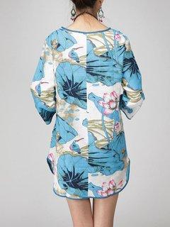 Casual Women Flower Printing Side Split Cotton Linen T-shirt