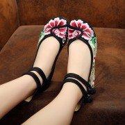 Цветочные вышивки Китайский узел Национальный Ветер Узелок плоские туфли
