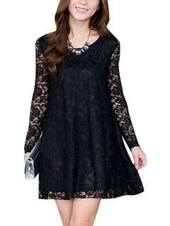 Plus Size Lace Patchwork Casual Long Sleeve Loose Dress