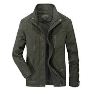 Plus Size Mens Hooded Water-repellent Jacket Stand Collar Multi-pocket Outdoor Casual Coat