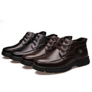 Genuine Leather Warm  Fur Lining  Lace Up Metal High Top Ankle Boots