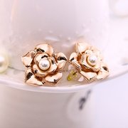 Alloy Jewelry Set Pearl Rose Flower Leave Earrings Necklace Set