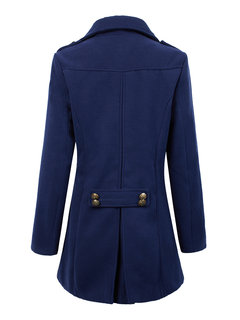 Women Long Sleeve Pure Color Double Breasted Woolen Long Coat