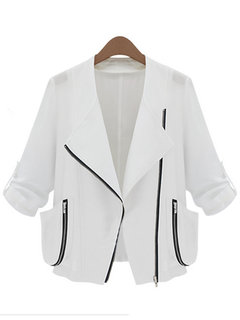 Women Casual Solid Color Three Quarter Sleeve Jacket