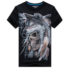 Summer Mens Plus Size Unique Wolf 3D Skull Printing Short Sleeved Casual T-shirts