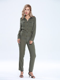 Button Pockets Long Army Green Lape Romper Casual Women  Jumpsuit