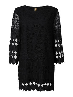 Hollow Out Lace Long Sleeve Round Neck Loose Mini Dress