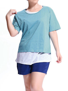 Casual Women Solid O-Neck Fake Two-pieces T-shirt