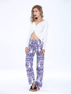 BoHo Print Flare Wide Leg  Casual Trousers For Women