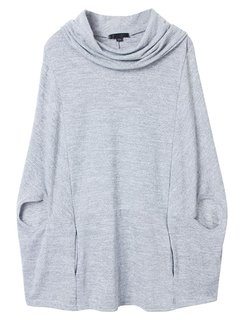 Loose Casual Batwing Sleeve Shawl Collar Knitted Fleece Sweater