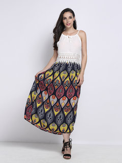 Bohemian Print Bow Elastic Waist Pleated Women  Maxi Skirt
