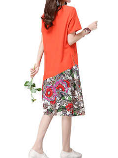 Folk Style Women Printing Patchwork Cotton Linen Dress