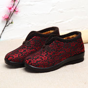 Chinese Knot Embroidery Flower Ankle Warm Fur Vintage Boots