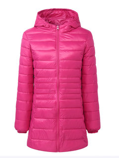 Loose Warm Solid Color Hooded Zipper Down Jacket Coat For Women