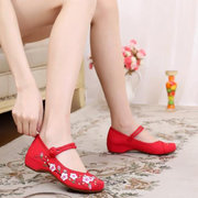 Plum Blossom Embroidery National Wind Chineseknot Slip On Flat Loafers