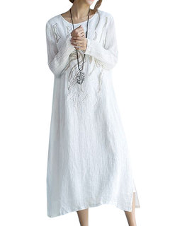 Elegant Casual Embroidery Pure Color Long Sleeve Round Neck Maxi Dress