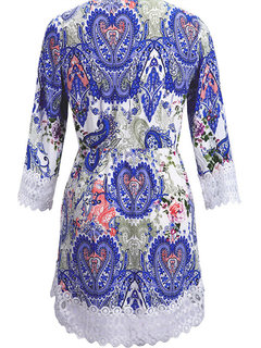 Women 3/4 Sleeve Floral Printed Lace Crochet Hollow Mini Dress