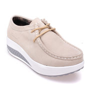 Casual Suede Lace Up Thick Bottom Platform Shake Shoes Sneakers