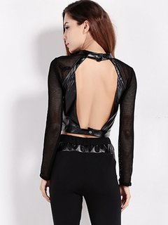 Women Sexy Mesh PU Leather Backless O-neck Long Sleeve Tops