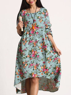 Casual Floral Printed Long Sleeve High Low Dress For Women