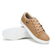 Men Pu Pure Color Breathable British Style Button Lace Up Casual Shoes