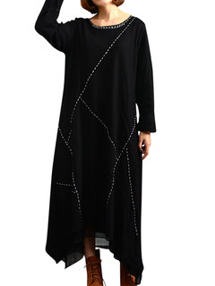 O-Newe Plus Size Solid Patchwork Long Sleeve Double-Layer High Low Dress