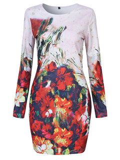 Women Long Sleeve Floral Printed Elegant Mini Dress