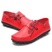 Большой размер Кожа Узелок Moccasin Плоский Повседневная обувь для женщин