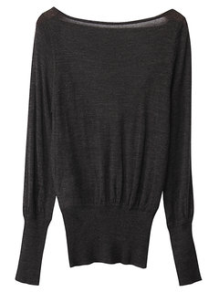Women Sexy Loose Round Neck Long Sleeved Halter Knit Wool Blouse