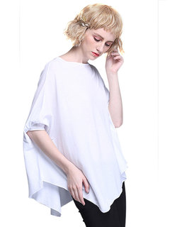 Women Casual Loose Bat Sleeve Pure Color Cotton Irregular Blouse