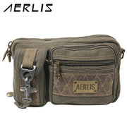 AERLIS Men Canvas Retro Outdoor Casual Sport Waist Bag