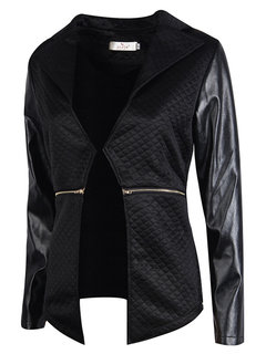 Casual  Pure Color Leather Stitching Turn-Down Collar Jacket For Women