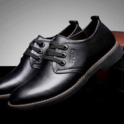 Men Letter Lace Up Leather Sport Formal Business Shoes