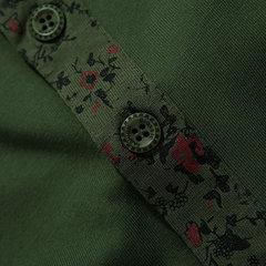 Mens сплошной цвет Цветочные манжета отложным воротником Кнопки Хлопок Повседневный длинным рукавом футболки