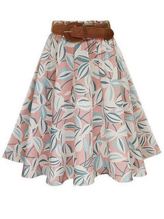 Swing Printed Pleated High Waist   Women Casual Skater Skirts With Belt