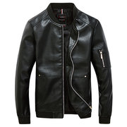 Fashion Casual Motorcycle PU Leather Jacket Stand Collar Plus Size Coat For Men