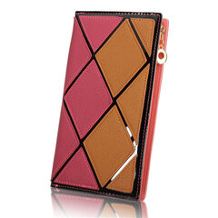 Women Diamond Lattice Contrast Color Long Zipper Wallet Casual Cash Coins Purse