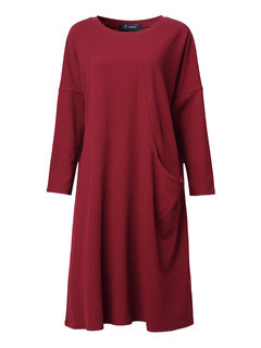 O-NEWE Plus Size Elegant Loose Pure Color Round Neck Dress For Women