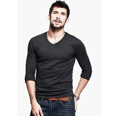 Men's Fashion Brief Slim Fit V-neck Solid Color Casual Long sleeve T-shirt