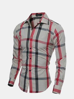 Spring Autumn Mens Casual Checks Pattern Long Sleeved Dress Shirts